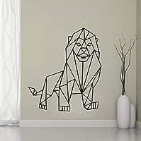 Mingld幾何学的なライオンウォールステッカーリビングルームの背景ジオメトリシリーズデカールウォールアートDiyのための家の装飾ステッカー保育園の装飾43×49センチ