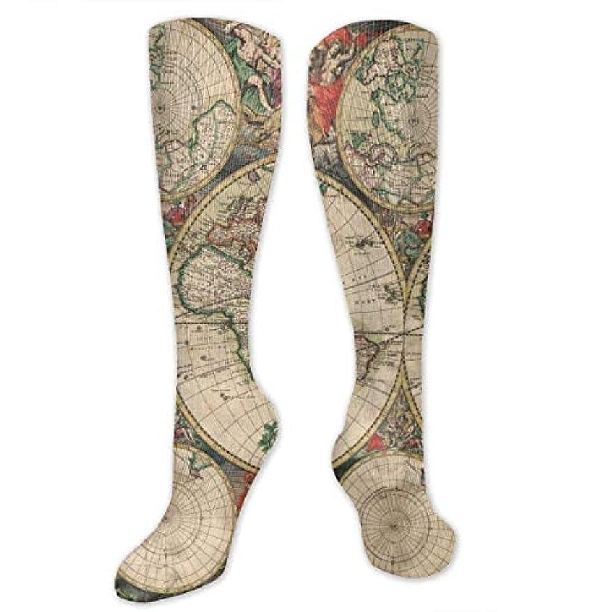 曇ったモンスター大騒ぎ靴下,ストッキング,野生のジョーカー,実際,秋の本質,冬必須,サマーウェア&RBXAA Vintage World Map.jpg Socks Women's Winter Cotton Long Tube Socks...