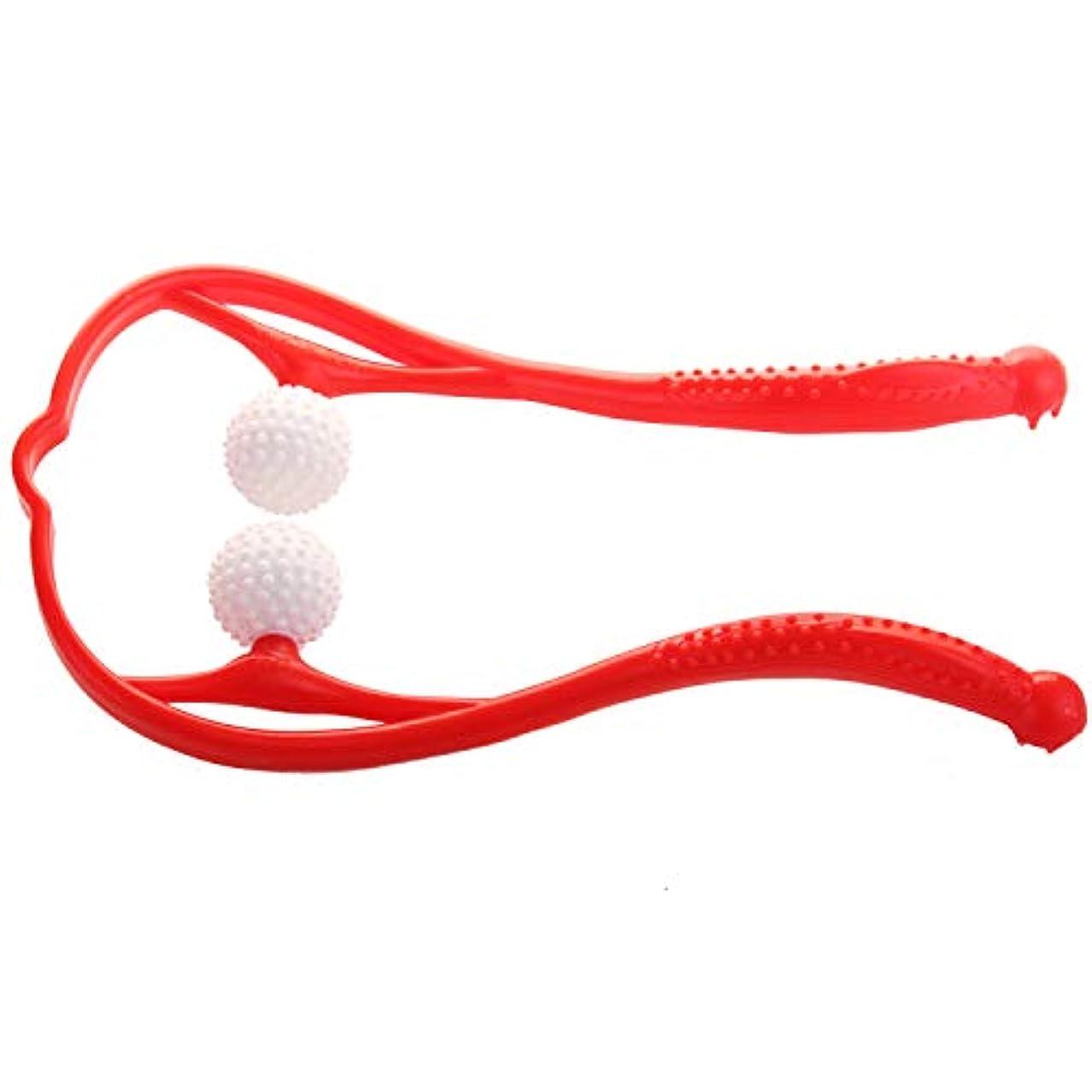 JOUDOO 肩マッサージャー 血行促進 脊椎マッサージ U型マッサージ器 首 足 腰 高弾力性繊維ストレス解消 リラックス 凝り用 簡易マッサージローラー JZA002 (赤)