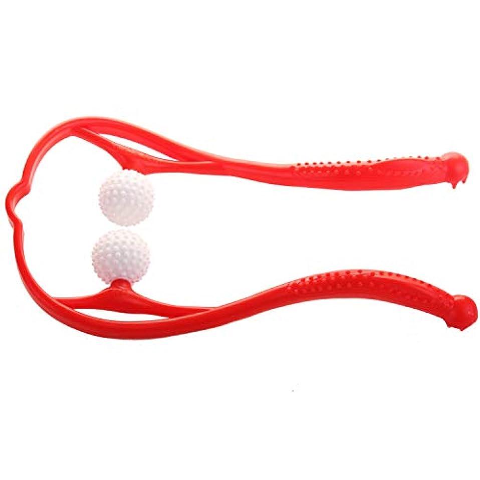 木材やりがいのある排泄物JOUDOO 肩マッサージャー 血行促進 脊椎マッサージ U型マッサージ器 首 足 腰 高弾力性繊維ストレス解消 リラックス 凝り用 簡易マッサージローラー JZA002 (赤)