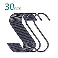 KRENDR S字型ハンギングフック 大型 キッチン オフィス 浴室 クロークルーム 庭用 高耐久S字フック 30 PACK/black