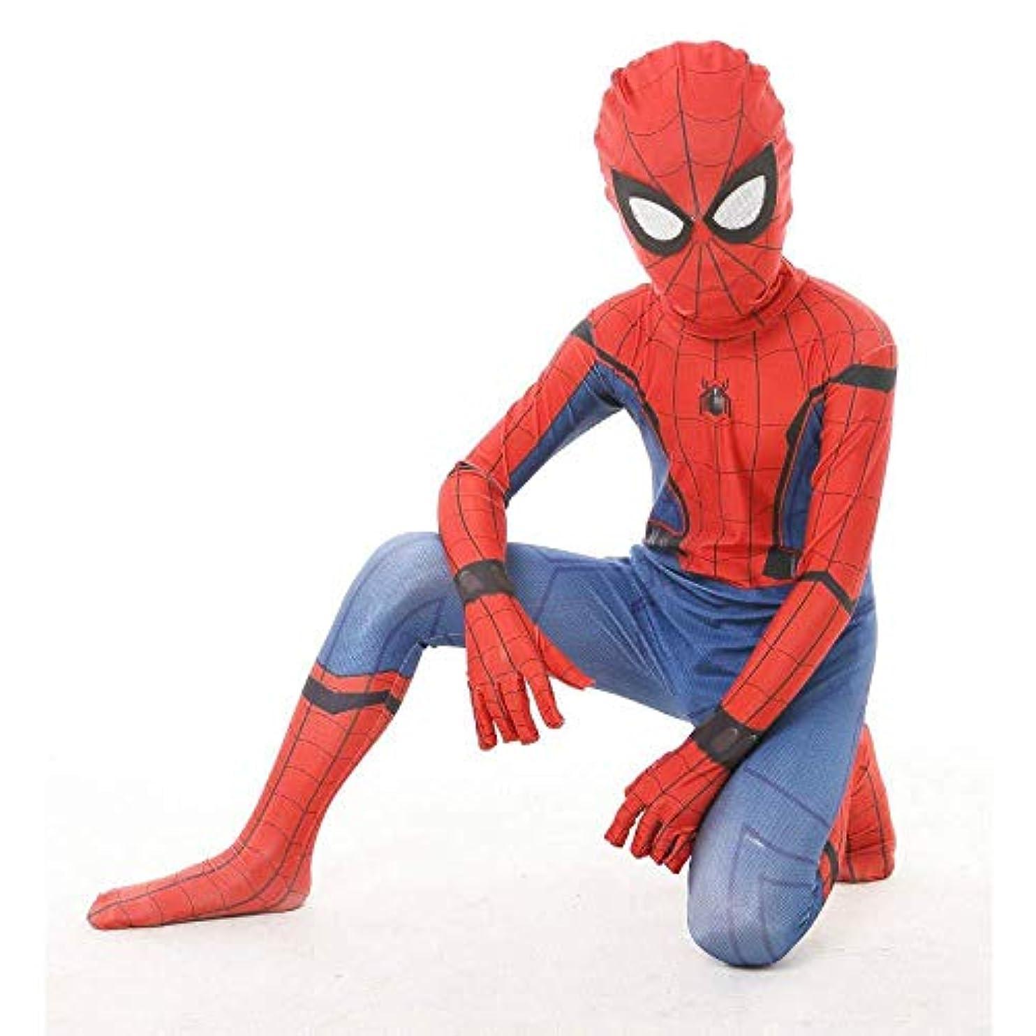 不定前書き加害者子スーパーヒーロースパイダーマンボディスーツハロウィンスパンデックスファンシードレス用男の子取り外し可能なマスクコスプレ衣装,Red-XXL