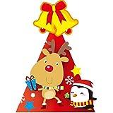 HuaQingPiJu-JP 幼稚園クリエイティブシーンの装飾エルクとペンギンのパターンHat_Red