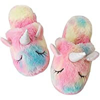 techcity Rainbow Unicorn Slippers/Cute Fluffy Girls Slippers/Cozy Plush Indoor Outdoor Women Slippers/Best Unicorn Gifts