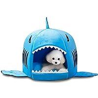 暖かいソフトドッグハウスペット寝袋シャーク犬ケンネルキャットベッドハウス (M:37×42cm, ブルー)