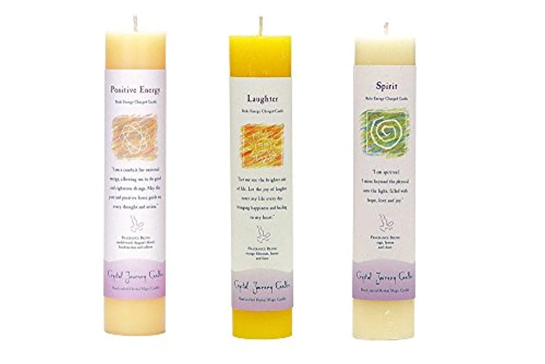ぬれたコア三角形(Positive Energy, Laughter, Spirit) - Crystal Journey Reiki Charged Herbal Magic Pillar Candle Bundle (Positive...