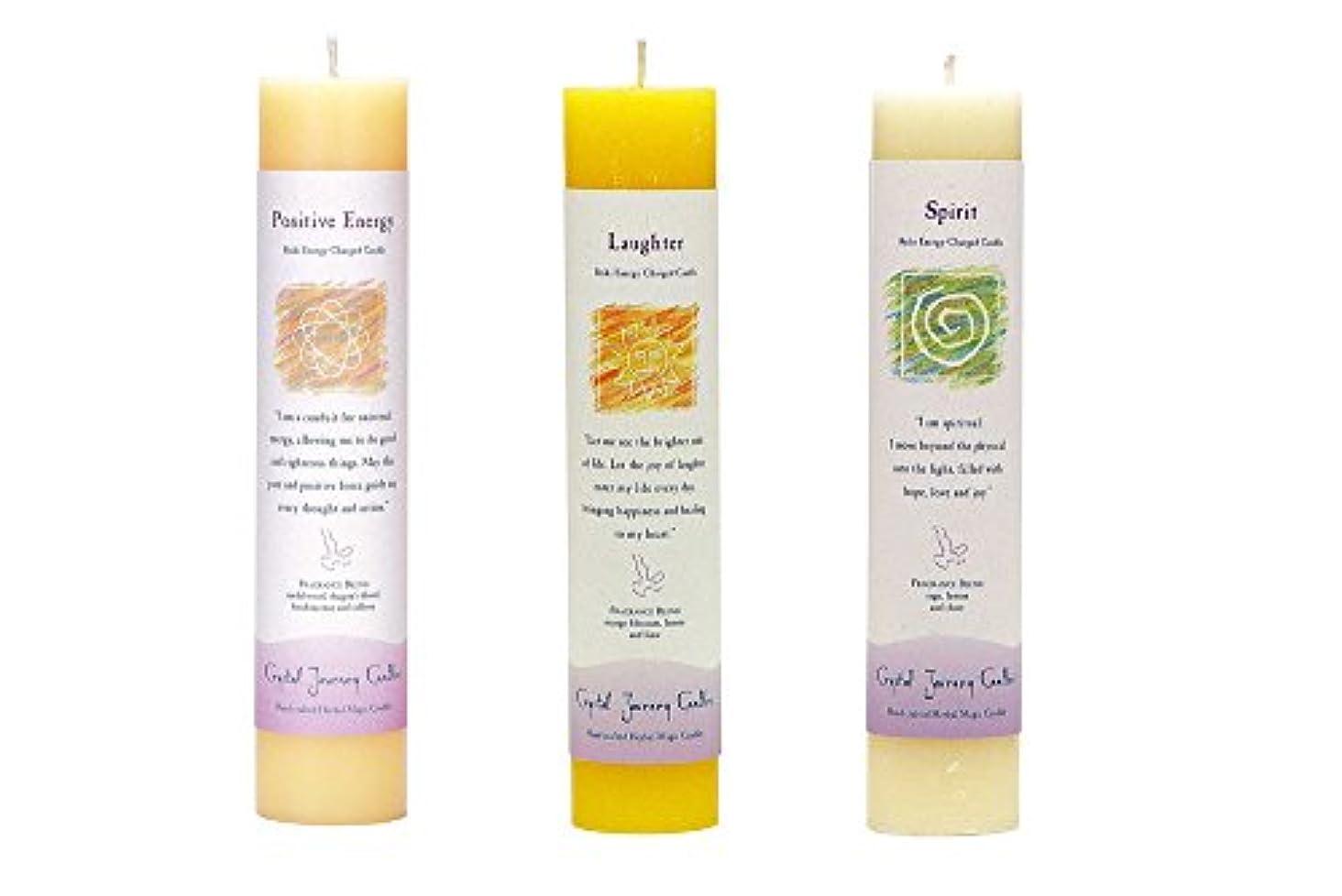 時間とともに端末政令(Positive Energy, Laughter, Spirit) - Crystal Journey Reiki Charged Herbal Magic Pillar Candle Bundle (Positive...