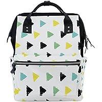 ママバッグ マザーズバッグ リュックサック ハンドバッグ 旅行用 小さい三角形 黄黒緑 白背景 ファション