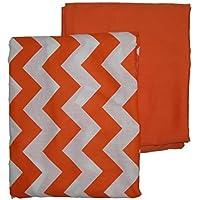 Baby Doll Bedding Chevron Round Crib Sheet Set, Orange, 2 Piece [並行輸入品]