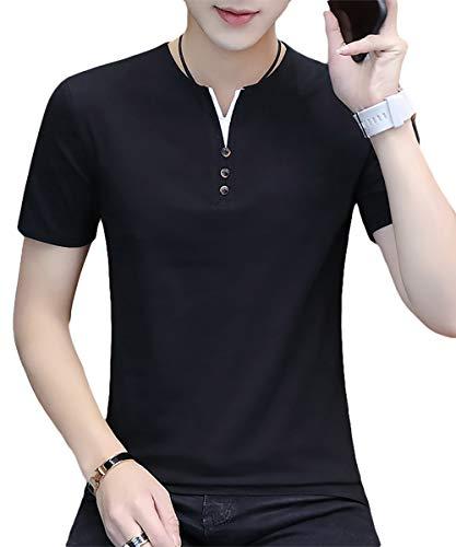[meryueru(メリュエル)] フェイクボタン ヘンリーネック tシャツ カジュアル サマー トップス 半袖 シャツ ポロシャツ ぽろしゃつ カラー かじゅある しっかり お洒落 スポーティー 20代 30代 着回し ヘビロテ 今風 オシャレ カッコイイ かっこいい おしゃれ シンプル ベーシック インナー 大人 スタイル ゴルフ ごるふ はんそで 夏 夏物 夏服 メンズ (XL ブラック)