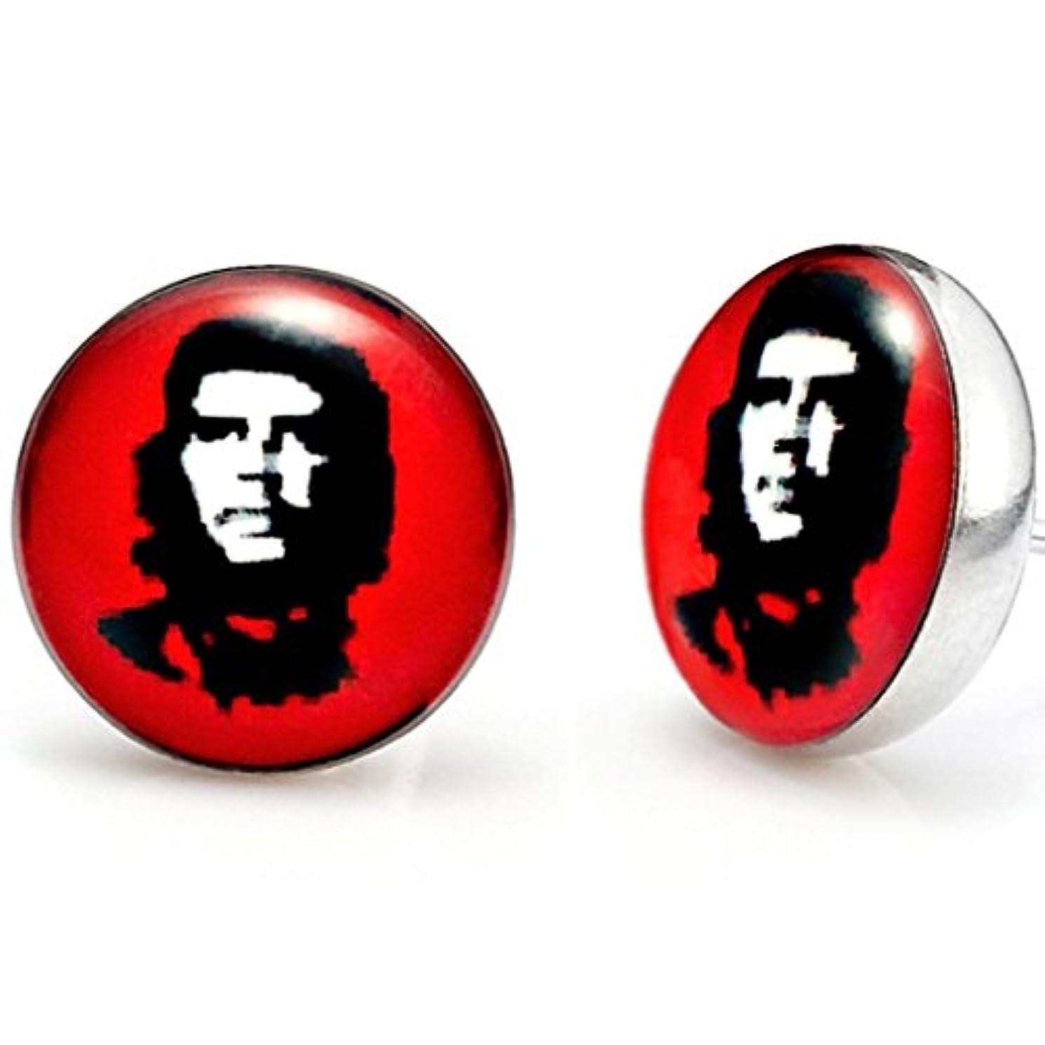八一般考えトレンディなメンズステンレススチールChe Guevaraスタッドイヤリングレッド