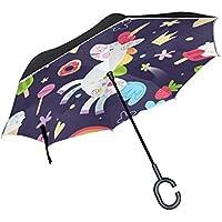 逆さ傘 逆折り式傘 車用 日傘 長傘 ユニコーン柄 可愛い UVカット 手離れC型手元 撥水加工 晴雨兼用 耐風 124センチ