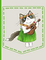 Hawaiian Cat Playing Guitar Pocket: Everyday Notebook