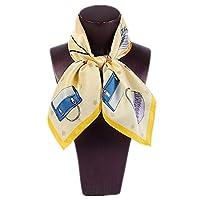 女性のスカーフシルクサテンプリントスモールスクエアスカーフシルクワイルドスモールスクエアタオルナチュラル抗アレルギー (色 : 黄)