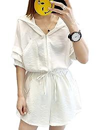 「ReiRei」レディース夏セットスーツウェアパンツ スーツ上下セットフード付き 着痩せカジュアル ゆったりシャツセット