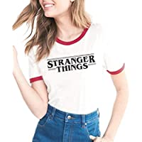 Womens Round Neck Short Sleeve Stranger Things Letters Print T-Shirt