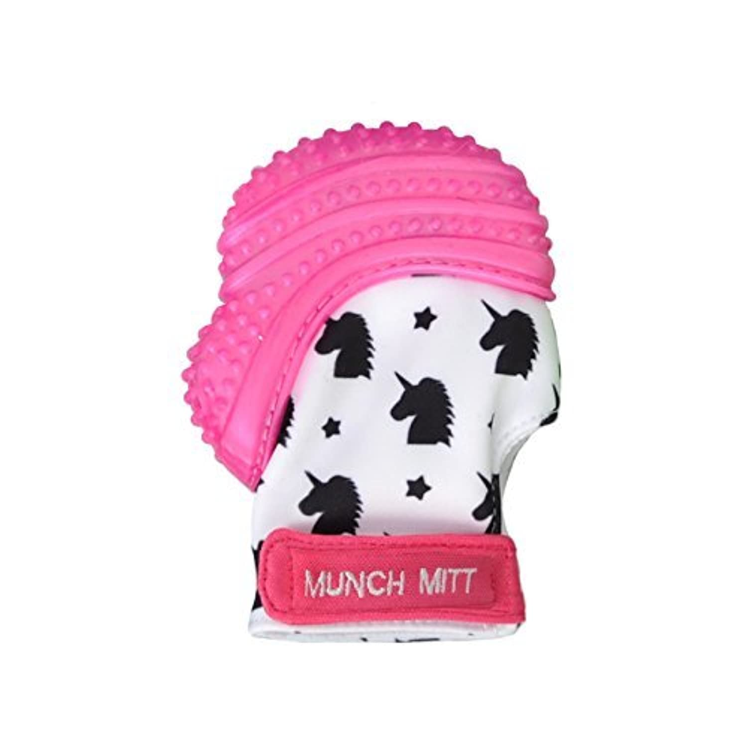 Munch Mitt Teething Mitten the Original Mom Invented Teething Toy- Teether Stays on Babys Hand for Pain Relief & Stimulation- Ideal Baby Shower Gift with Handy Travel/Laundry Bag- Pink Shimmer Unicorn [並行輸入品]