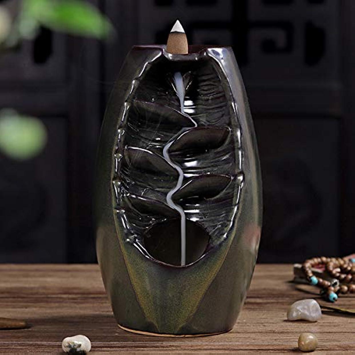 ケーブル使役支出Vosarea 逆流香バーナー滝香ホルダーアロマ飾り仏教用品(茶)