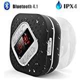 Waterproof Bluetooth Shower Speaker with LED Screen, AGPTEK Handsfree Portable Wireless Speaker with Suction Cup, Built-in Microphone FM Radio for Bathroom, Pool, Car, Beach, Kitchen, Black