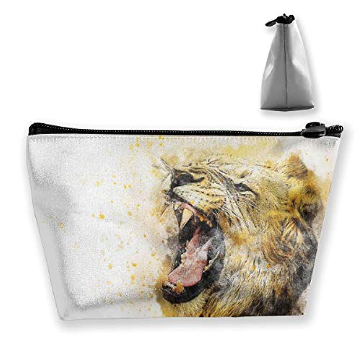アンビエント虐待ミシン目Joycego 抽象的な水彩画のライオン 化粧品袋の携帯用旅行構造の袋の洗面用品の主催者