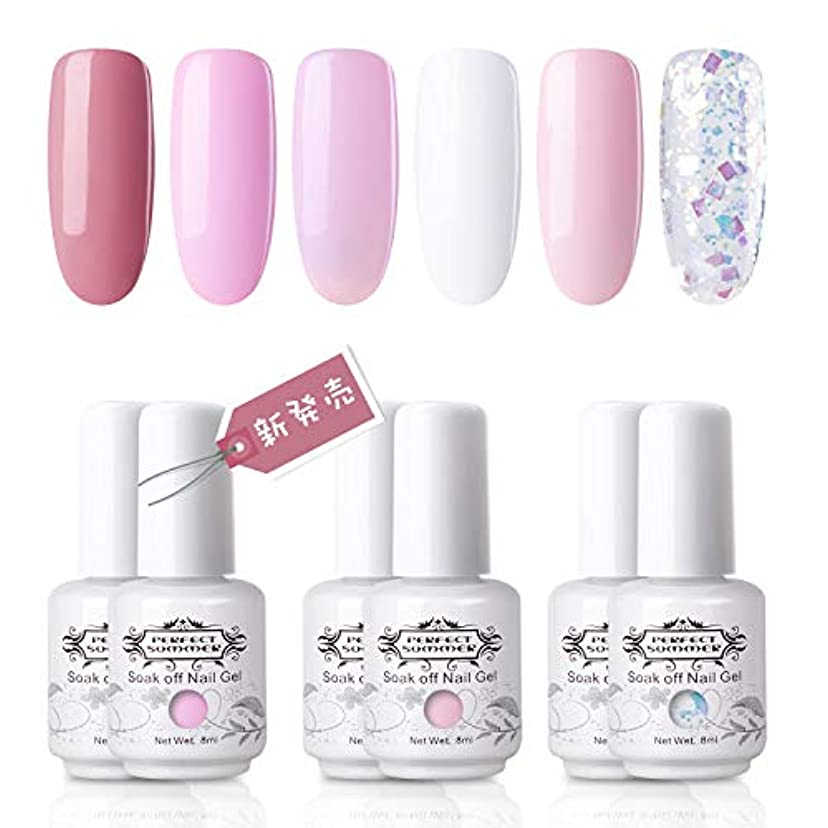 土ラップ鎖[Perfect Summer] ジェルネイル カラージェル 6色セット ポリッシュタイプ 新発売 UV/LED対応 ピンク ラメ