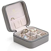 Vlando Small Travel Jewellery Box Organisers - Storage Case for Rings Earrings Necklace (Grey)