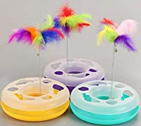 シングルレイヤーのアミューズメントディスクの猫のおもちゃの色の羽の春の猫のアミューズメントおもちゃの猫のカルーセル (Color : Yellow)