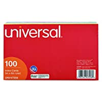 UNIVERSAL 47256 Index Cards, 5 x 8, Blue/Salmon/Green/Cherry/Canary, 100/Pack by Universal