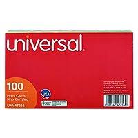 ユニバーサル47256インデックスカード, 5x 8,ブルー/サーモン/グリーン/チェリー/カナリア(パックof 100)