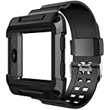Simpeak for Fitbit Blaze Bands, Rugged Protective Frame Case with Resilient Strap Replacement Bands for Fit bit Blaze Smart Fitness Watch, Large, Black