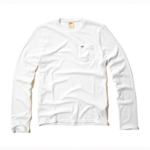 ホリスター HOLLISTER CO. メンズ 正規品  長袖Tシャツ 3色 White Point T-Shirt 刺繍入り 丸首ロンT ポケット付き 324-369正規 アメカジ イ L,2/白(White)