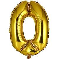 番号バルーン、30インチ金誕生日番号バルーンパーティーデコレーション用品ヘリウムフォイルデジタルバルーン(0)