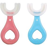 2点セット U字型 歯ブラシ 手動式 幼児用歯ブラシ 子供 2-12歳の子供向け 保護歯ブラシ 360度清掃 口腔清掃ブ…
