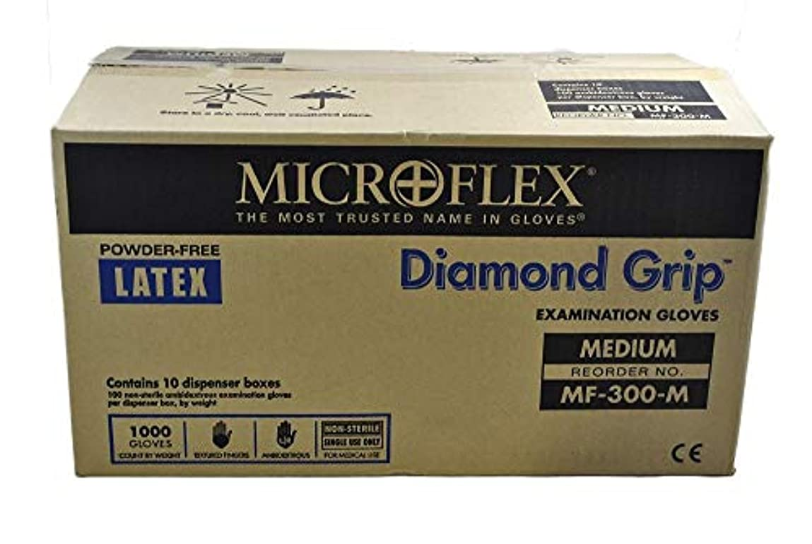 上級脚本不変Microflex MF300M-10PK - Diamond Grip Powder-Free Latex Gloves - Case Of 10 Boxes, 100 Per Box, Medium by Microflex