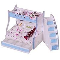 ベッドルームアクセサリー 1/12ドールハウス ベッド模型 組み立て式 2段ベッド 4色選ぶ - #3