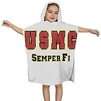 子供用バスタオルU S Marine Corps Semper Fi フード付きバスタオル 2~8歳子供用ビーチタオル バスタオル 子供用 バスローブタオル ビーチタオルフード付き ポンチョタオル 女の子 男の子 動物柄プール タオル