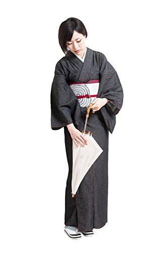 デニム着物 女性用 レディース お仕立て上がり 洗える着物 木綿着物 婦人用 (M, レディース チャコール)