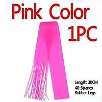 Bimoo 40本のストランド/ソフトワームトラウトフライ美脚釣りジグルアースカートフライタイイング材料用のパック30CMマイクロラバー文字列:ピンクの色1PC