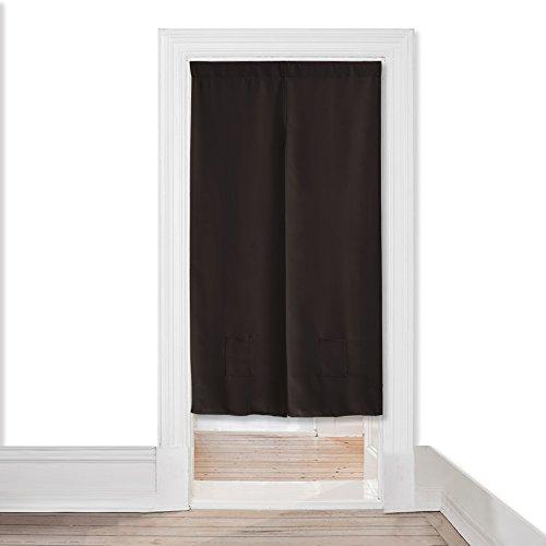 断熱 遮光 おしゃれ 突っ張り棒 紐のれん-PONY DANCE 暖簾 プライムセール インテリア ロング キッチン ウォールポケット 幅85x丈170cm ブラウン