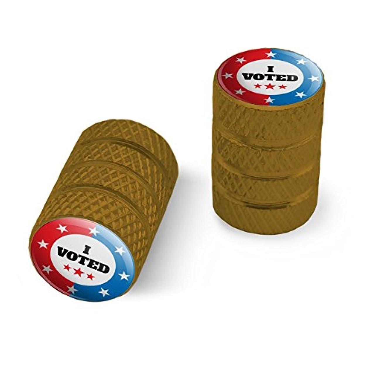 トレイルきらめく誓い私は赤い白青愛国に投票しましたオートバイ自転車バイクタイヤリムホイールアルミバルブステムキャップ - ゴールド