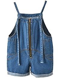MJS-F 【 キッズ かわいい デニム サロペット 】 女の子 おしゃれ サスペンダー オーバーオール ( サイズ : 全4種 / カラー : ブルー ) ファッション モデル