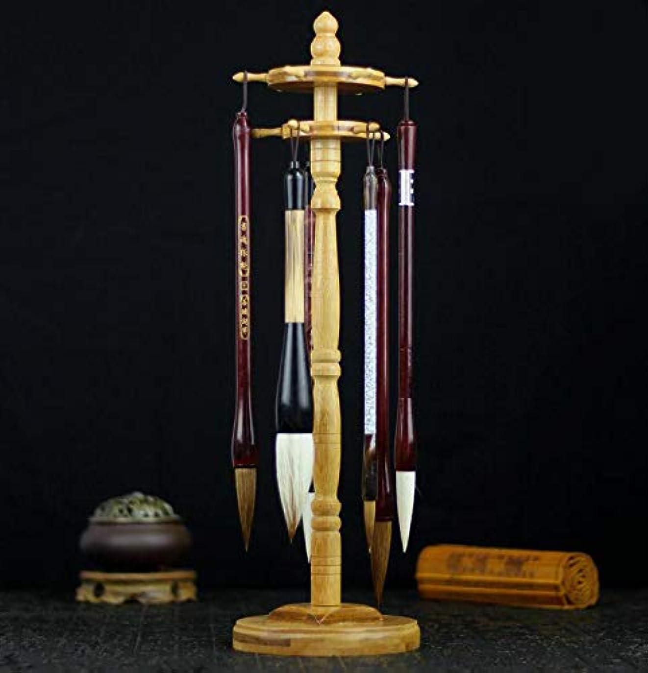 バーターはしご使い込む筆架 丸型 木製 筆掛け 11本収納 書道 習字 筆吊 置物 工芸品 簡単組立式