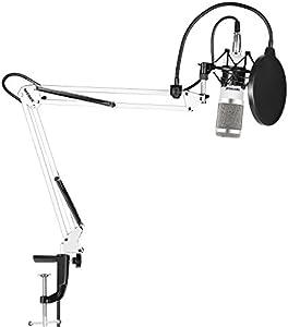 Neewer NW-800プロなスタジオ放送録音用コンデンサーマイクキット NW-35調節可能なマイクサスペンションシザーアームスタンド(黒いショックマウントとテーブル取り付けクランプ付き)、ポップフィルター (白/シルバー)