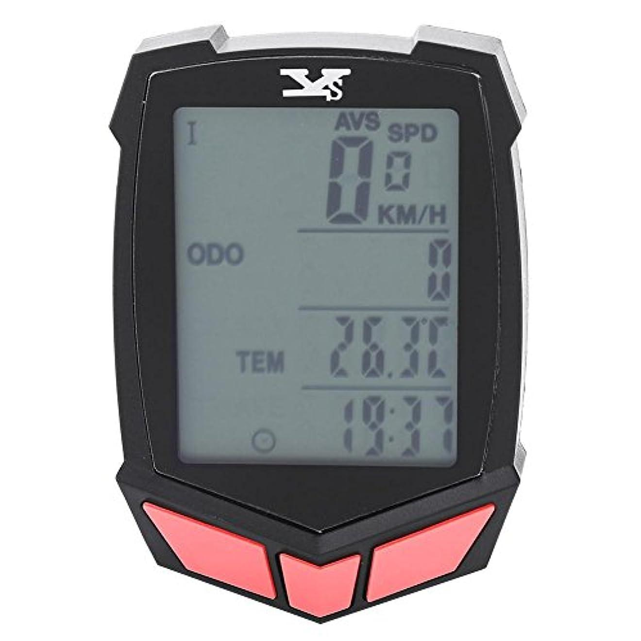 存在中庭保護するサイクルコンピューター 自転車コンピューター スピードメーター LCD画面 バックライト付き 時間/スピード/走行距離/温度など表示 オーバースピード警告機能 防水 高温&低温耐性