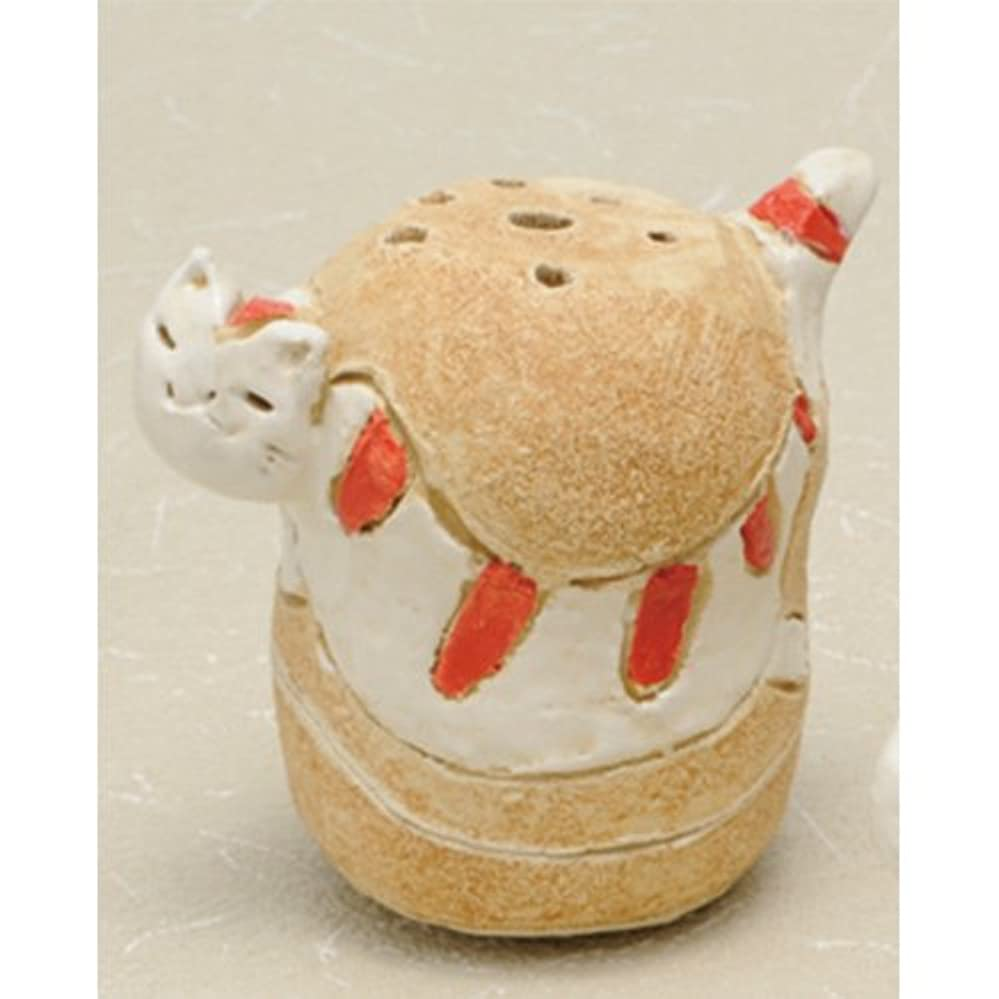 島ねこ 島しまネコ 香炉(赤) [R5.5xH8cm] HANDMADE プレゼント ギフト 和食器 かわいい インテリア