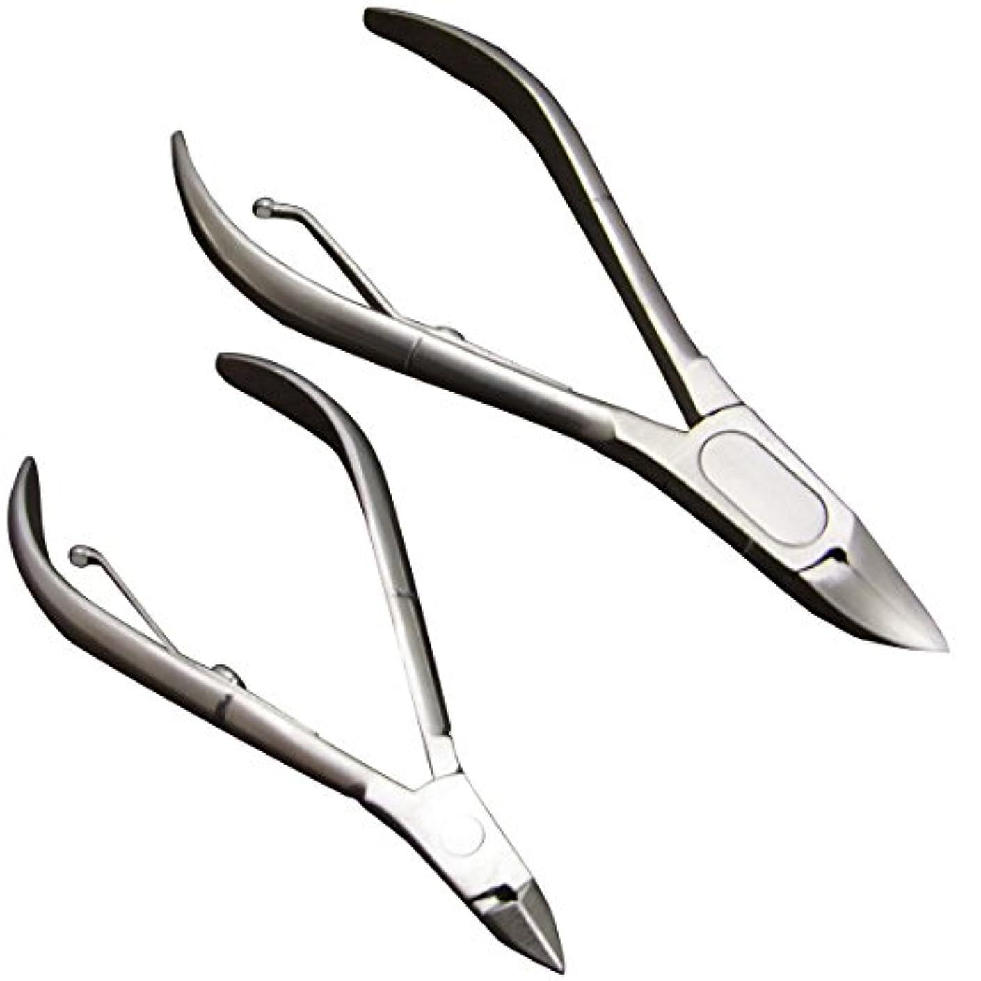 オーク道を作るシンボル「爪切り 大小2本セット」ネイルニッパー ステンレス製 割れ爪 巻き爪 陥入爪 2枚爪 厚い爪 足用 ささくれ 左右両用 ネイルケア 大小