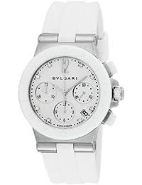 [ブルガリ]BVLGARI 腕時計 ディアゴノ ホワイト文字盤  ラバーベルト 自動巻 クロノグラフ ダイヤモンド 100M防水 DG37WSCVDCH/8 レディース 【並行輸入品】