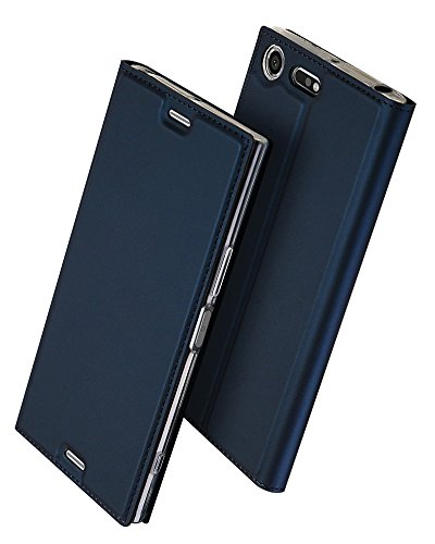 Sony Xperia XZ Premium 手帳型 ケース、Uniqe 軽量 XZPremium 用 ポケット カード収納あり マグネット スタンド機能付き [高級 PU レザー+TPU素材] 耐衝撃 全面保護カバー (XZ Premium, ブルー)