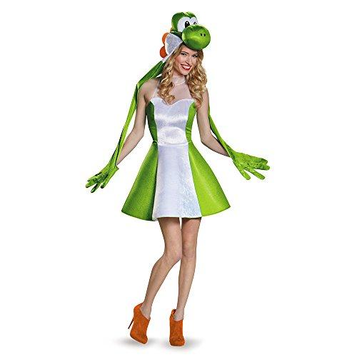 Super Mario Bros: Yoshi Female Adult Costume スーパーマリオブラザーズ:ヨッシー女性大人用コスチューム♪ハロウィン♪サイズ:Medium (8-10)