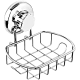 HASKO accessories Suction Soap Dish with Hooks | Powerful Vacuum Suction Cup Soap Holder | Soap Basket Sponge Holder for Bath